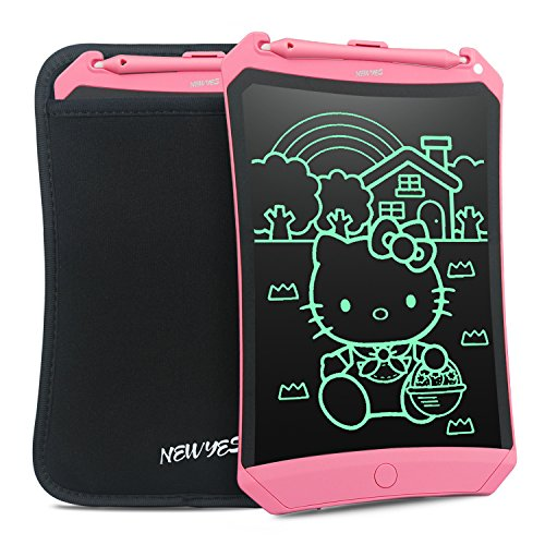 (NEWYES 8.5 Inches LCD Writing Tablet Robot Pad Kids Drawing Board Digital Doodle Pad Electronic Drawing Notepad (Pink with case))