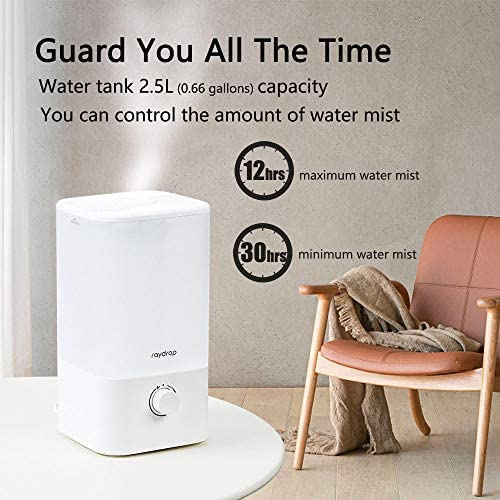 517mnYgUw1L. AC - Raydrop Cool Mist Humidifier, 2.5L Essential Oil Diffuser For Bedroom Nursery,Home And Office, Adjustable Mist,Auto Shut-Off, Easy To Clean,Dial Knob