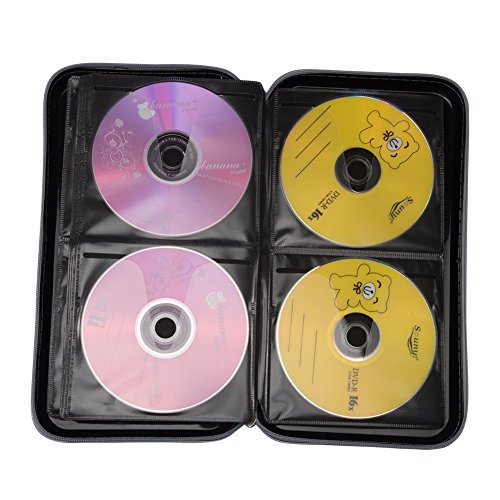 Yafeco Portable 72 CD case Disc Storage Case Bag CD/ DVD Wallet for Car,storage,holder,booklet,cases binder,Home, Office and Travel(black)