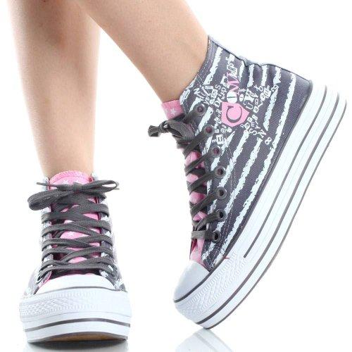 Hoge Sneakers Voor Dames Vetersluiting Hi Canvas Skateschoenen Grijs / Roze