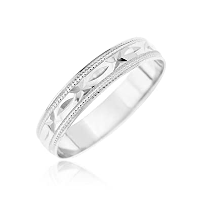 Kareco 9ct 4mm Diamond Cut D Shape Message Wedding Band Ring Sealed