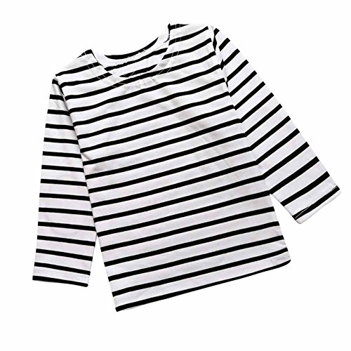 Baby Kids Boys Girls Star Striped Long Sleeve O Rong BFF T-Shirt Tee,White-striped,100(4T)