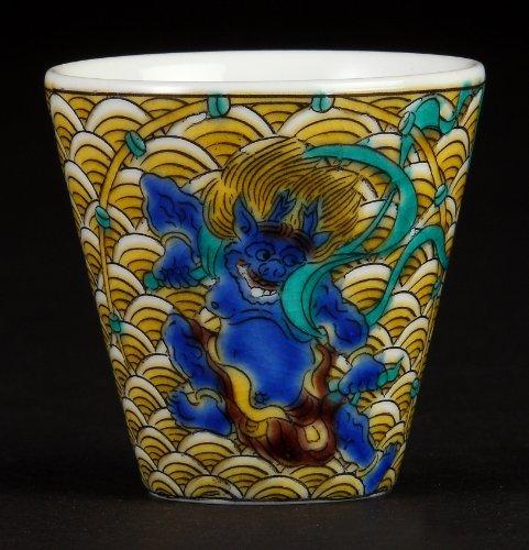 God of Thunder Kutani-yaki 2.2inch Sake Cup porcelain Made in Japan