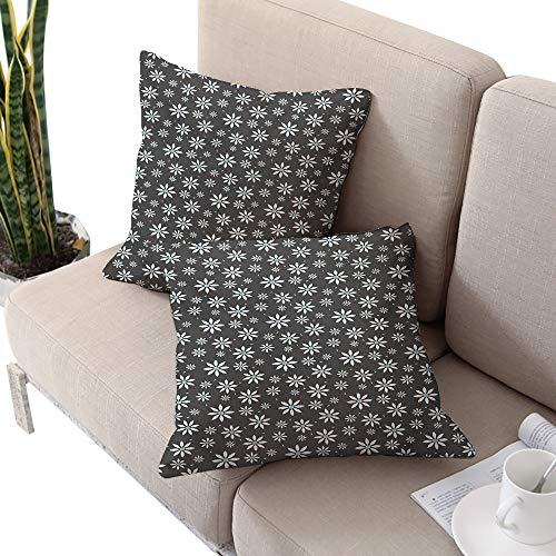 Michaeal Floral Square futon Cushion Cover,Blooming Spring Flowers Abstract Simplistic Design Nature Composition Pale Blue Grey White W20 xL20 2pcs Cushion Cases Pillowcases for Sofa Bedroom Car