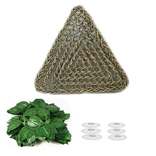 1Pcs Lizard Hammock,Reptile Lounger Natural Seagrass Fibers for Lizard,Bearded Dragons, Geckos,Anoles, Iguanas,Geckos and Hermit Crabs Triangular and 3Pcs Plastic Terrarium Plant Leaves by Kathson