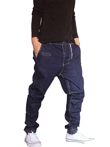 Hip Hop Estilo Hipster De Hombres Pantalones Vaqueros Los Rap Ropa De Mezclilla  Pantalones Harén Streetwear Vaqueros De Moda Pantalones Pantalones Casuales  ... a7b6edcaf03