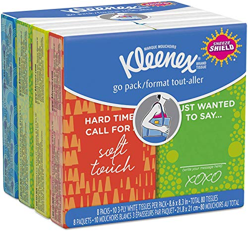 KIMBERLY-CLARK PROFESSIONAL* KLEENEX Facial Tissue Pocket Packs 8.60″/10 per pack/Eight packs of ten tissues each/Pack/Qty 10/8.3″