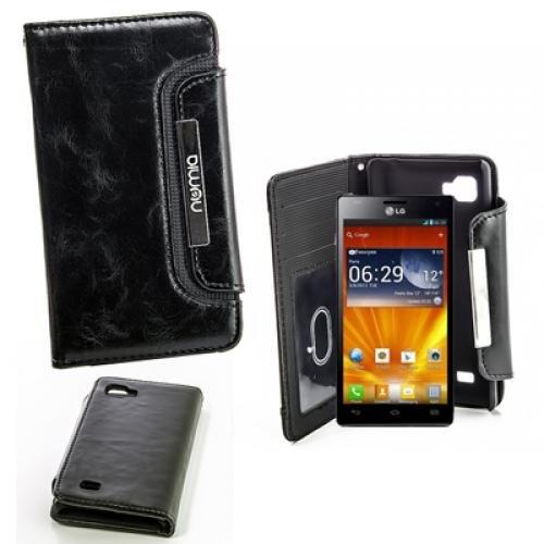 Original Numia Design Luxus Bookstyle Handy Tasche LG P880 Optimus 4X HD Schwarz mit Magnetverschluss + Trageband Handy Flip Style Case Tasche Cover Gehäuse Etui Bag Schutz Hülle NEU