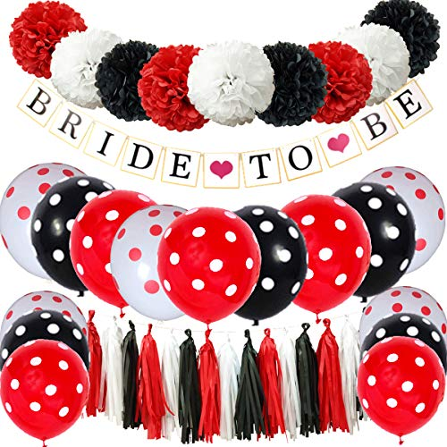 InBy 40pcs Red Black White Bride to Be Bridal Shower Wedding Bachelorette Mickey Minnie Mouse Party Decoration Kit - 'Bride to Be' Banner, 10