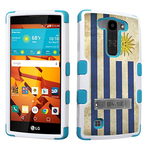 DuroCase LG Volt 2 LS751 Boost Mobile / LG Magna H500 (Released in 2015) Fashion Kickstand Case White & Mint - (Uruguay Flag) (Mint Uruguay)