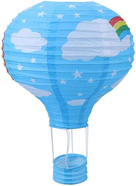 Rainbow Lampe de Plafond Montgolfi/ère Lanterne-Abat-jour en Papier-Bleu