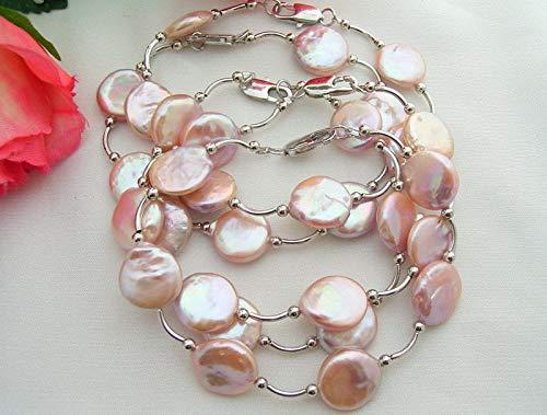 FidgetKute Wholesale 5 Pieces 13MM Pink Coin Pearl Bracelet