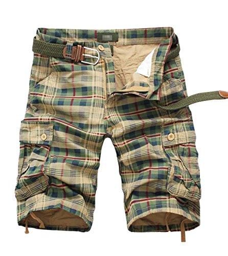 Tanming Men's Summer Loose Fit Multi Pockets Plaid Cargo Shorts Walk Shorts (Small, - Plaid Pocket Flap Shorts
