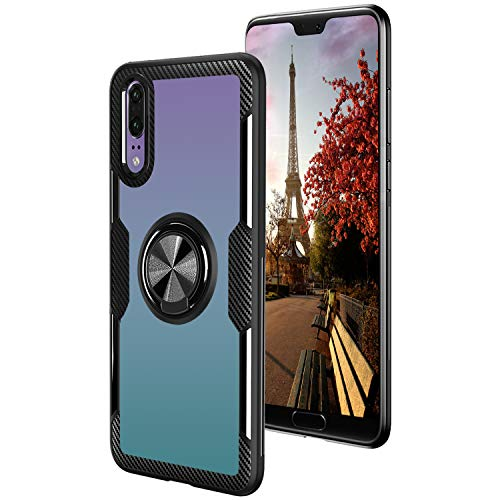 Baokai Crystal Clear Phone Case for Huawei P20 with 360° Rotation Metal Ring Kickstand for Magnetic Car Mount TPU+PC Triple Protection Explosion-Proof Shock-Proof Anti-Scratch-Black Ring