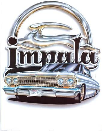 16x20 Impact Posters Classic Vintage Car Wall Decor Blue /& Gold Lowrider Art Print Poster