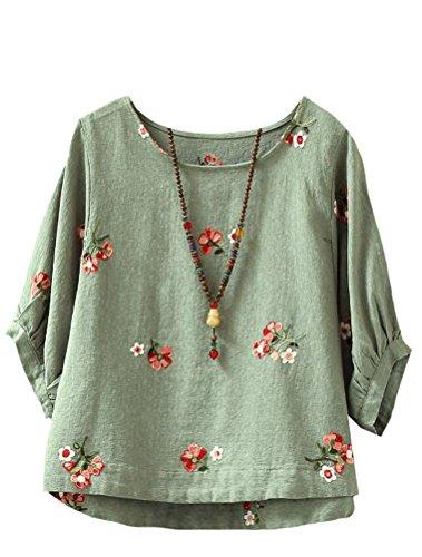 Classique Casual Floral Femme Shirt Vert Haut Top T MatchLife W6nB04gx