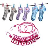 HOME CUBE'1pcs creative Travel Portable 12 clip drying racks rope travel clothes hanging hook (1.8 Meter)