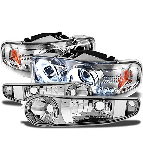 Xtune for 2000-2006 GMC Sierra/Yukon Denali Halo Projector Headlights w/LED + Bumper Signal Lights 2001 2002 2003 2004 2005