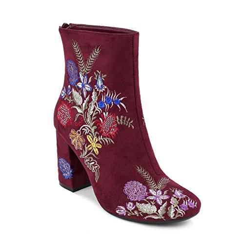 Olivia Miller Springfield Floral Embroidered Chunky Heel Ankle Booties Hnom 100 Oe Burgundy 7 5