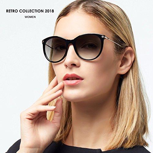 Ultraligero etc Mujer 2018 Gafas Gafas Gris UVA Verano Retro Elegear Gris 100 Retro Marrón UV400 de Gafas Protección Gafas vintage Cómodo Redondas Sol tTpq6ZR