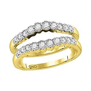 Amazon.com: 14k Yellow Gold Round Diamond Wrap Ring Guard
