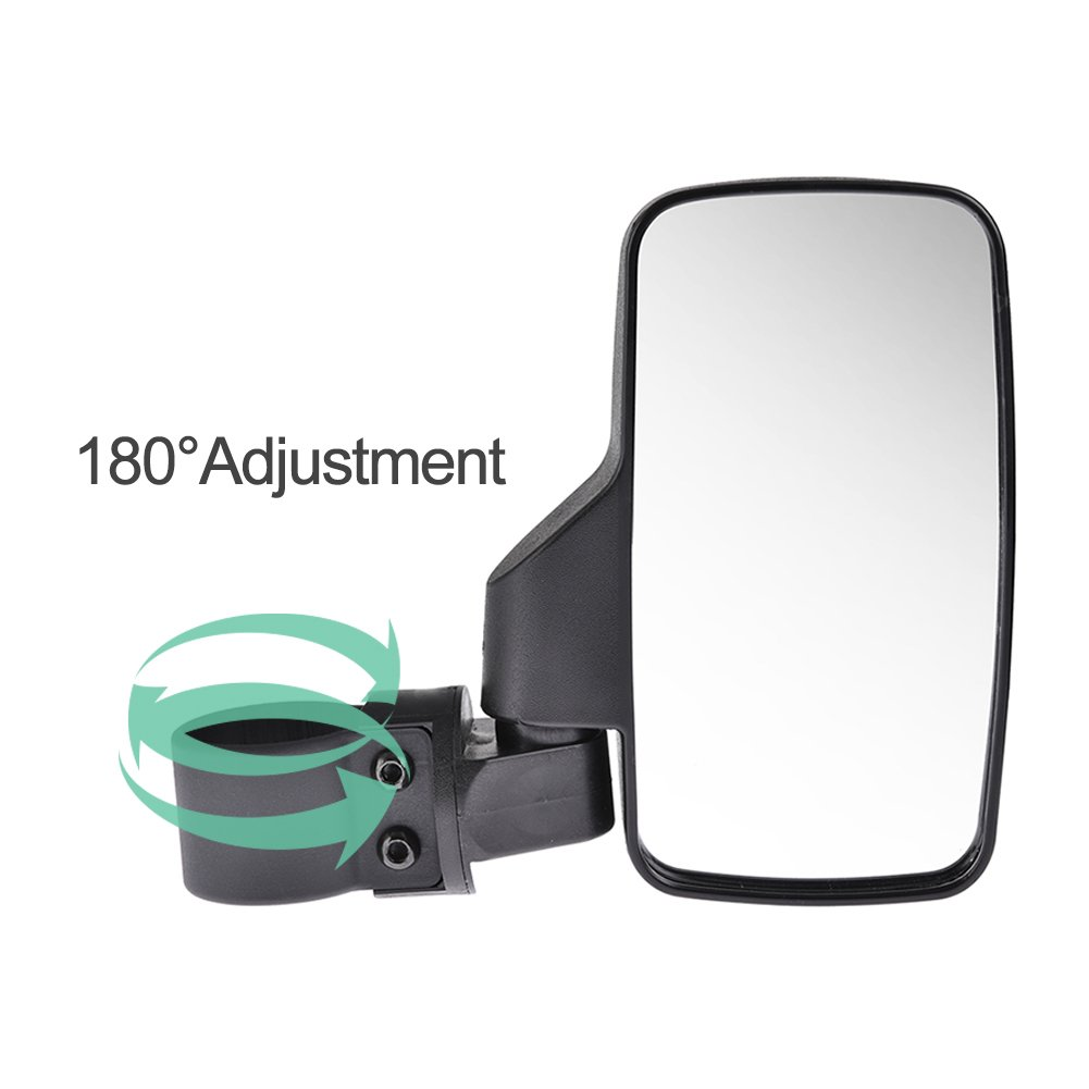 Catinbow UTV Side View Mirrors for 1.5 1.75 or 2inch Roll Cage Bar Tempered Glass Break Away w//Adjustable Arm Rear View Mirrors for Polaris Ranger RZR Can-Am Maverick and more 2PCS