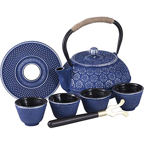 - Blue Floral Cast Iron Teapot Set Japanese Style Tetsubin Tea Kettle with 4 Cups, Stainless Steel Infuser for Stove Top Tea Brewing 26 oz