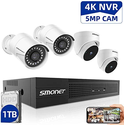 5MP 8CH PoE Home Security Camera Systems,SMONET Ultra HD Video Surveillance System,4pcs Wired PoE IP Cameras,24 7 Recording