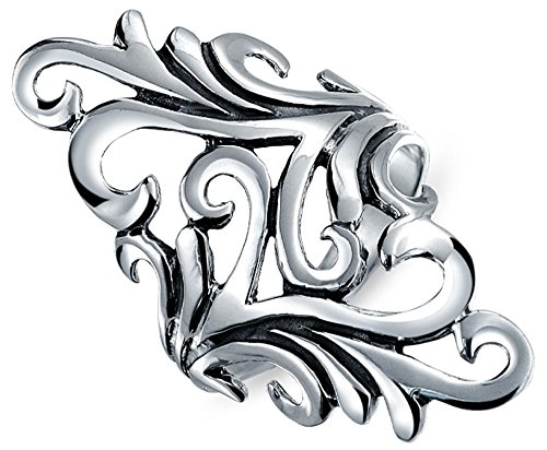 Bling Jewelry Modern Swirl Filigree Vine Open Leaf Sterling Silver Cocktail Ring (Ring Swirl Sterling Silver Open)