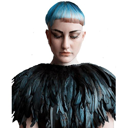 Feather Outerwear (L'vow Fashion Feather Cape Stole Black Shawl Iridescent)