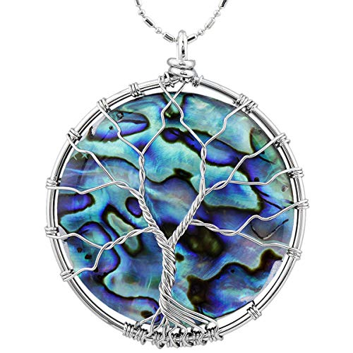 - TUMBEELLUWA Tree of Life Pendant Necklace, Round Shape Healing Crystals Jewelry for Women,Rainbow Abalone Shell