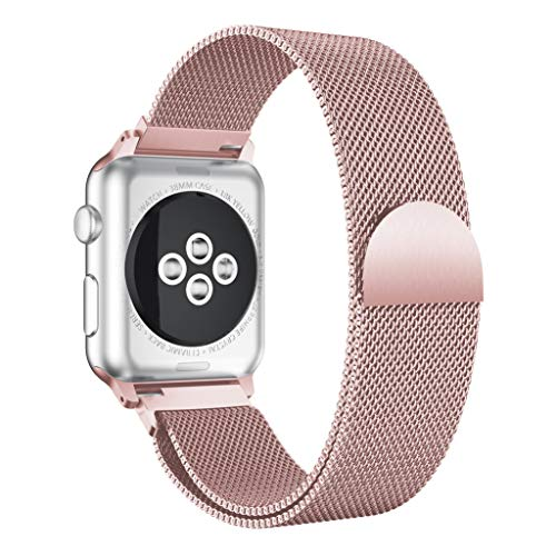 JDgoods Apple Watch Band, 40MM/44MM, Milanese Loop Stainless Steel Magnetic Band Replacement Strap Band Compatible with iwatch Series 4 (Pink, 40MM)