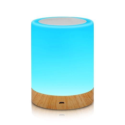 Aisuo Luz Nocturna - Lámpara Táctil con Batería Interna Recargable de 1200mAh, Regulable de 2800k a 3100k Luz Blanca Cálida y Brillo Ajustable, ...