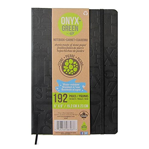 Onyx and Green - Eco-Friendly Hard Cover Notebook/Journal with Elastic Closure, pages made from Stone Paper, Color: Black (6703BK)