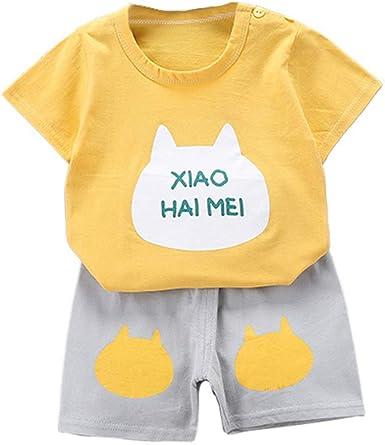 Fansu Pijamas Enteros de Manga Corta para Niños, Pijamas Dos Piezas Bebé Niño Niña Verano Algodón Juego de Pijama Camisetas y Pantalones Estampado ...