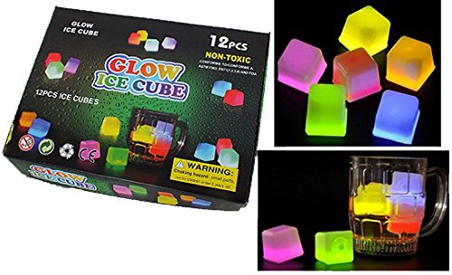 12 asst color LIGHT UP GLOW IN THE DARK BAR DRINK ICE CUBES]()