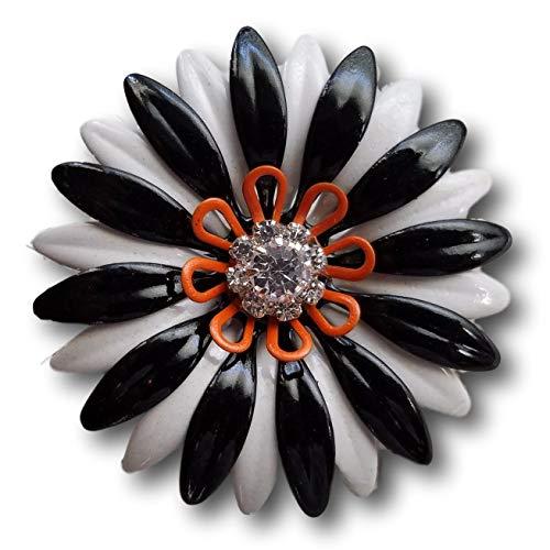 Halloween Enamel Flower Brooch, Black White and Orange