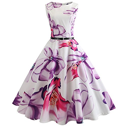Chanyuhui Women Dresses Clearance Lady Vintage Print Bodycon Sleeveless Evening Party Swing Dress with Belt (L, Purple)