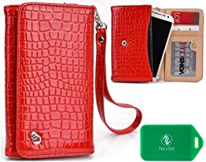 Alcatel One Touch Scribe HD Ladies Croc Universal wristlet phone case in Red