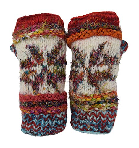 Snowflake Fair Isle Insulated Lined Cable Knit Arm Warmer Fingerless Gloves Thumb Hole Gloves Mittens (Red)