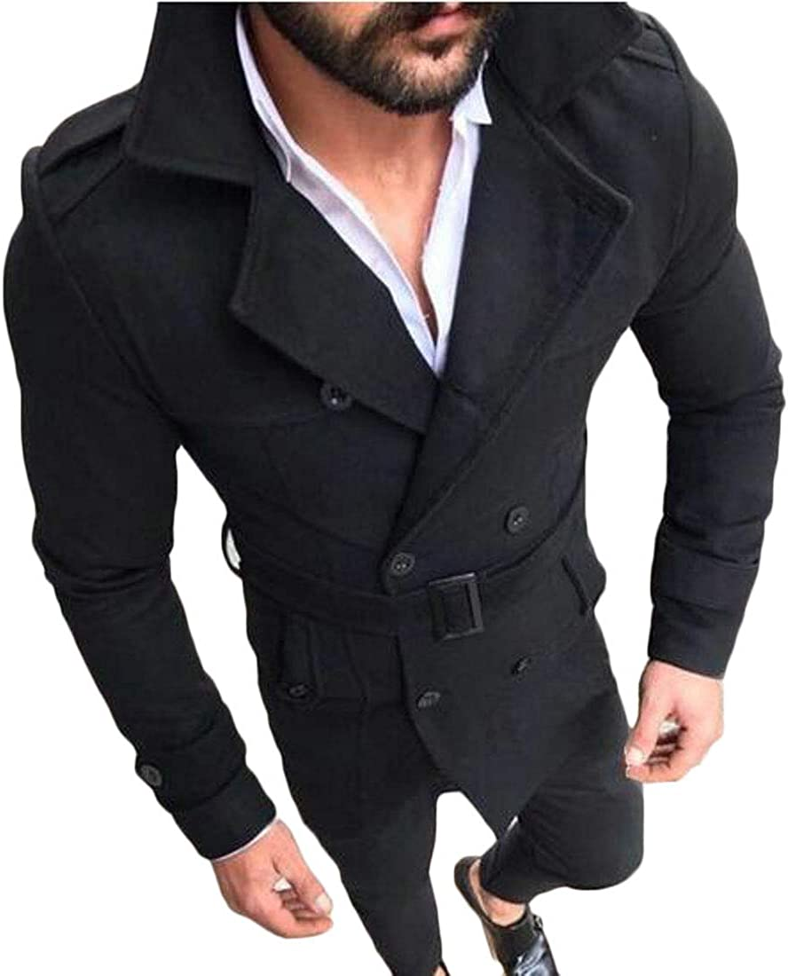 ARTFFEL Mens Double Breasted Faux Suede Classic Belted Lapel Slim Trench Coat Jacket
