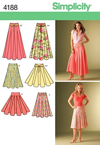 Simplicity Pattern 4188 Misses Skirts with Length Variations and Belt Sizes 8-10-12-14-16