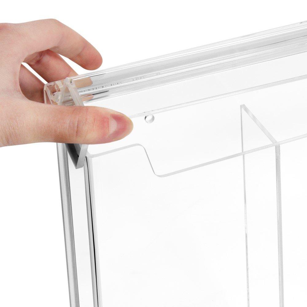 f/ür Au/ßen wetterfest 2-Fach DIN Lang Prospektbox//Prospekthalter // Flyerhalter im Hochformat Zeigis/® mit Deckel aus glasklarem Acrylglas