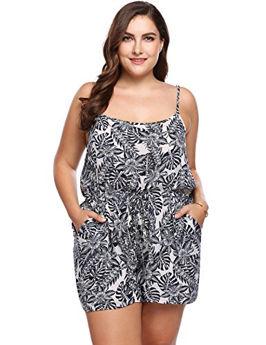 IN'VOLAND Plus Size Womens Summer Spaghetti Strap Sleeveless Scoop Neck Floral Print Short Beach Romper Jumpsuit Playsuit