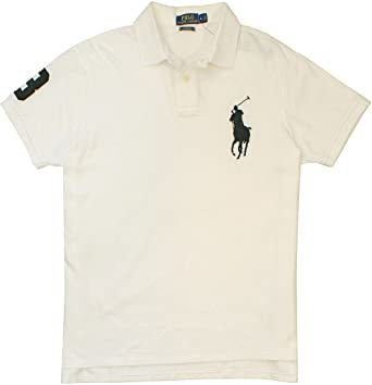 Polo Ralph Lauren Big Pony Mens Custom Fit Mesh Polo Shirt (XS, Classic  White