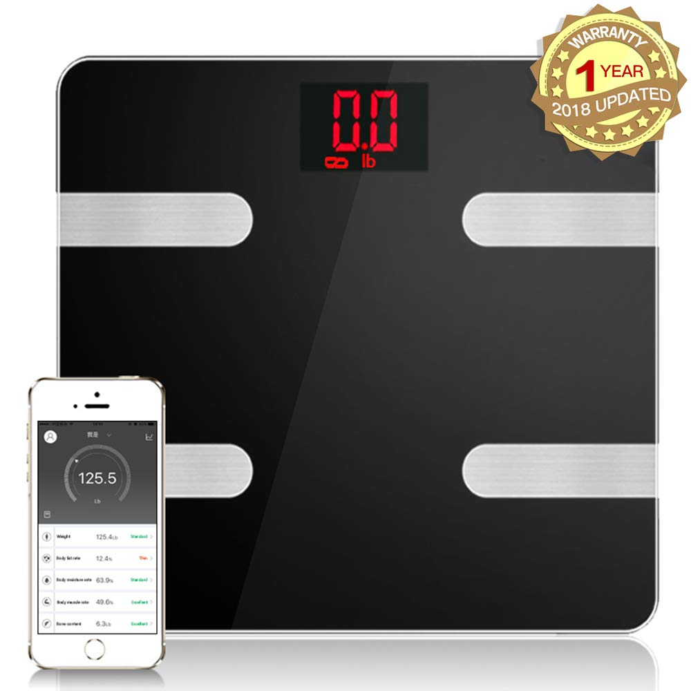 Fat Scale Smart Bluetooth Digital Weight Scale Body Composition Monitor Analyzer Works with Smart Phone Android iOS Free App Including BMI, Body Fat, Muscle Mass, Water Weight, and Bone Mass Analysis