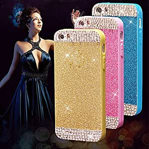 QHY Sparkling Glitter Bling Shiny Soft TPU Skin Case Cover with Diamond for iPhone 5/5S(Assorted Colors) , Black