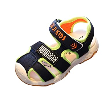 8e3744e5a09b Kimanli Toddler Infant Kids Baby Girls Boys Closed Toe Beach Shoes Sandals  Sneakers (Dark Blue