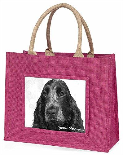 Advanta Cocker Spaniel dogyours Forever Große Einkaufstasche/Weihnachtsgeschenk, Jute, pink, 42x 34,5x 2cm