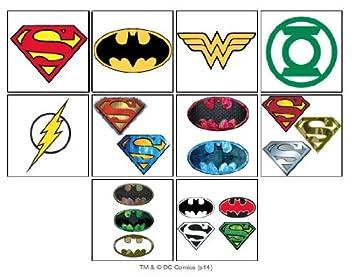 Amazon.com: 10 DC Super Hero Temporary Tattoos - Set of 10 Batman ...